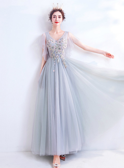 In Stock:Ship in 48 Hours Gray Tulle V-neck Beading Prom Dress