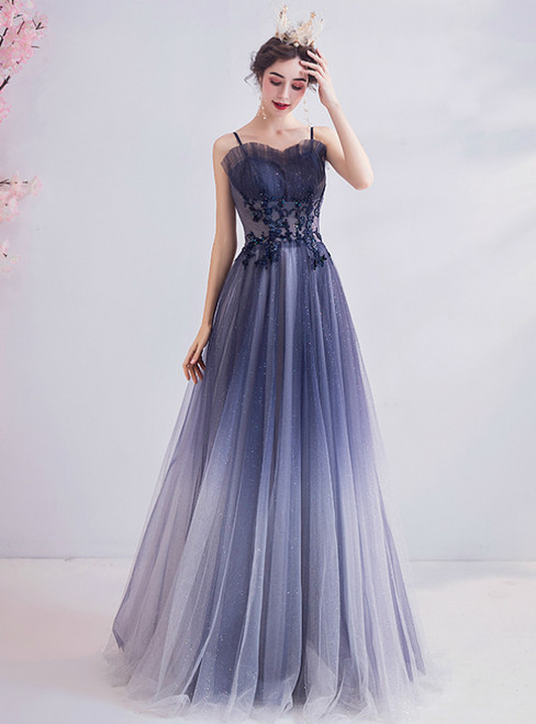 In Stock:Ship in 48 Hours Blue Spaghetti Straps Appliuqes Prom Dress