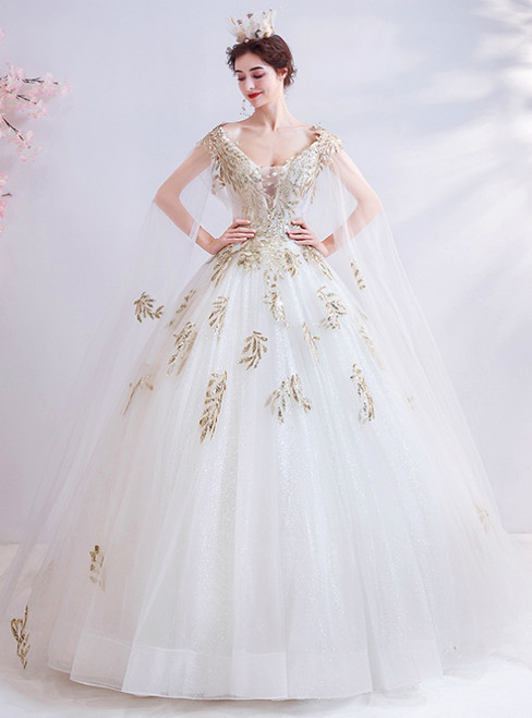In Stock:Ship in 48 Hours White Tulle Gold Sequins V-neck Wedding Dress