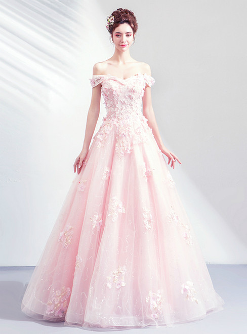 In Stock:Ship in 48 Hours Pink Tulle Flower Off the Shoulder Prom Dress