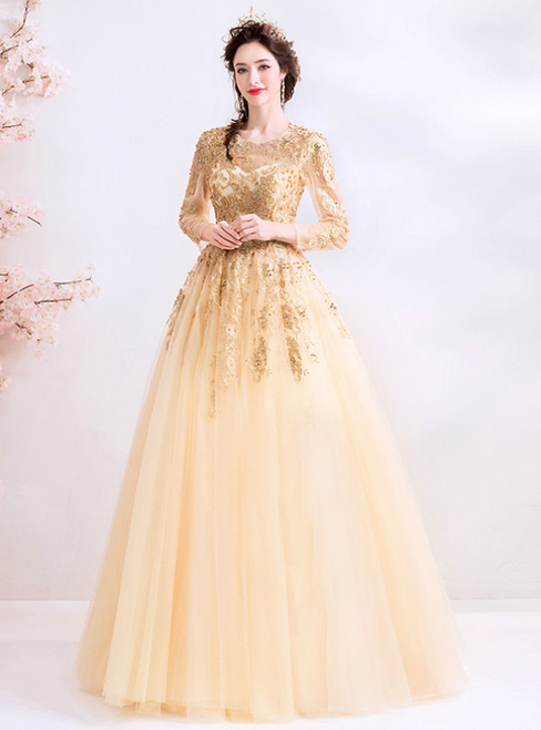 In Stock:Ship in 48 Hours Champagne Tulle Long Sleeve Appliques Prom Dress
