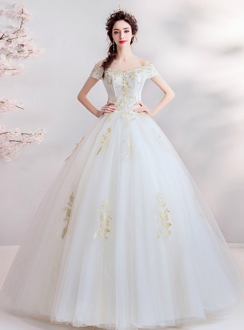 In Stock:Ship in 48 Hours White Tulle Off the Shoulder Applouqes Wedding Dress