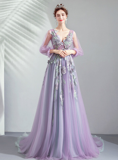 In Stock:Ship in 48 Hours Purple V-neck Long Sleeve Appliuqes Prom Dress