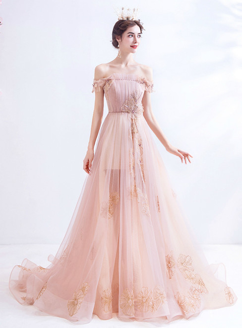 In Stock:Ship in 48 Hours Pink Tulle Off the Shoulder Pleats Prom Dress