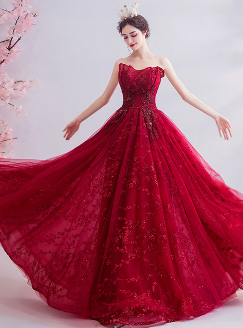 In Stock:Ship in 48 Hours Red Strapless Tulle Sequins Prom Dress
