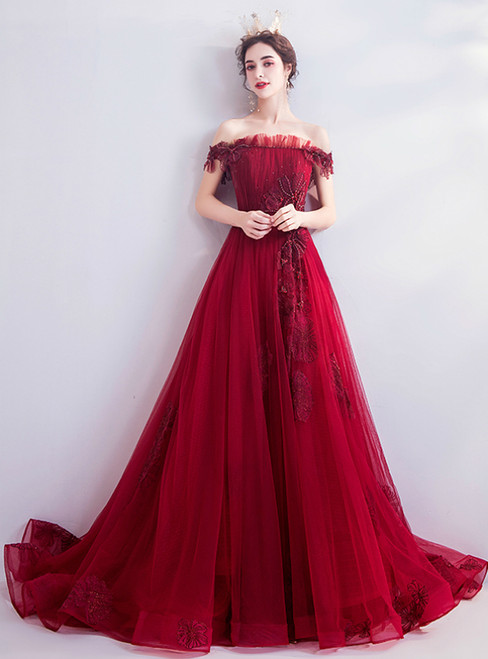 In Stock:Ship in 48 Hours Dark Red Tulle Off the Shoulder Pleats Prom Dress