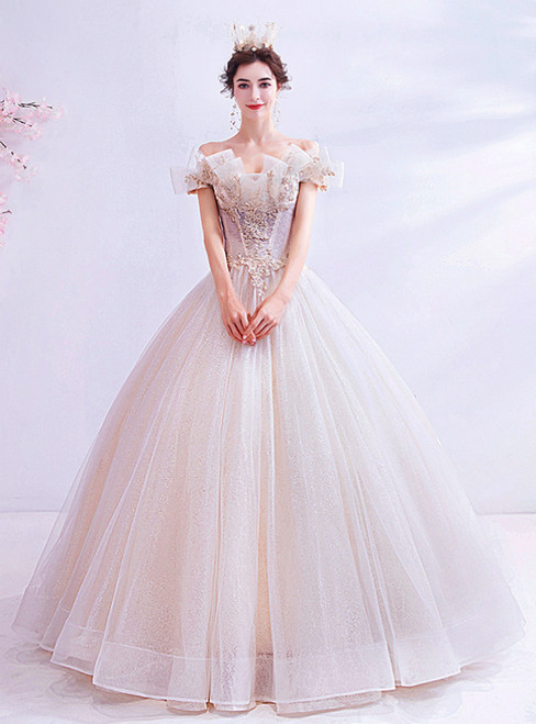 In Stock:Ship in 48 Hours Ivory Tulle Off the Shoulder Wedding Dress