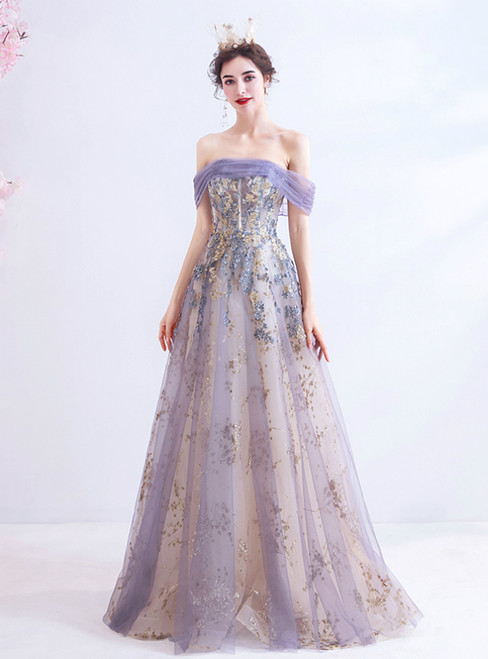 In Stock:Ship in 48 Hours Purple Tulle Sequins Off the Shoulder Prom Dress