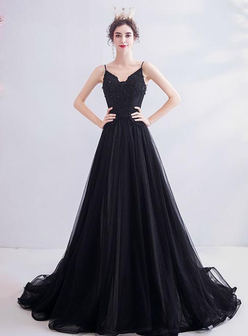 In Stock:Ship in 48 Hours Black Tulle Spaghetti Straps Beading Prom Dress