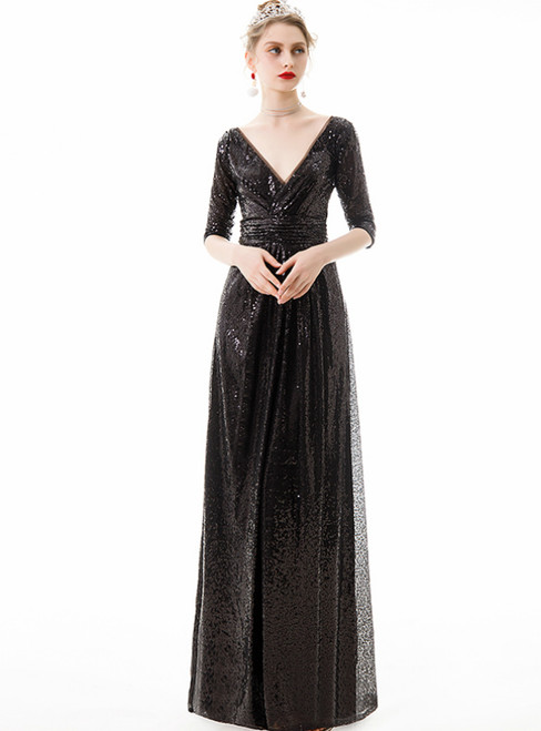 In Stock:Ship in 48 Hours Black Seuqins V-neck 3/4 Sleeve Prom Dress