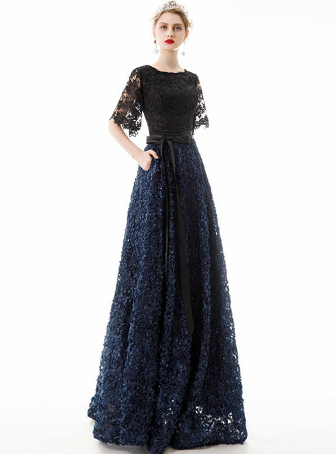 In Stock:Ship in 48 Hours Blue and Black Lace Short Sleeve Prom Dress