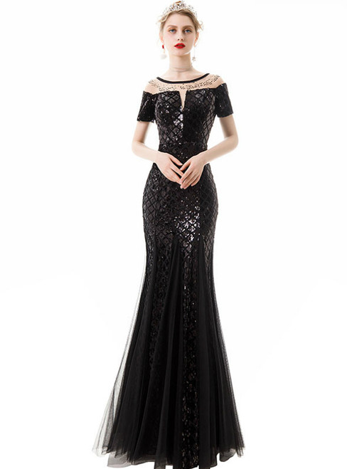 In Stock:Ship in 48 Hours Black Mermaid Sequins Tulle Short Sleeve Prom Dress