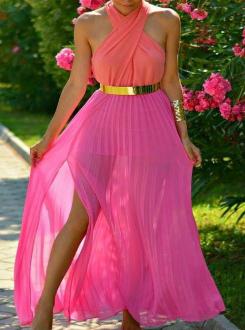 Halter Chiffon Prom Dress Split Prom Dress With Sash