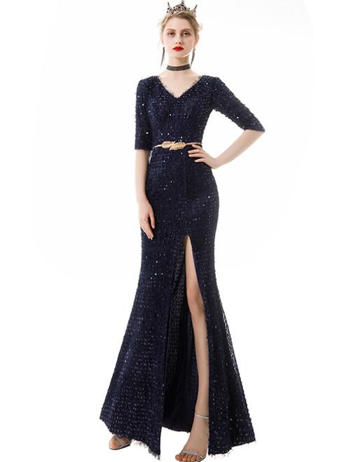 In Stock:Ship in 48 Hours Dark Blue V-neck Short Sleeve Prom Dress