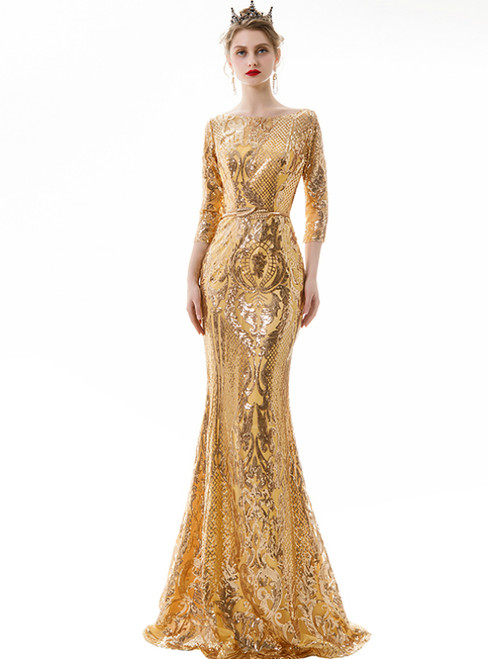 In Stock:Ship in 48 Hours Gold Mermaid Sequins 3/4 Sleeve Prom Dress