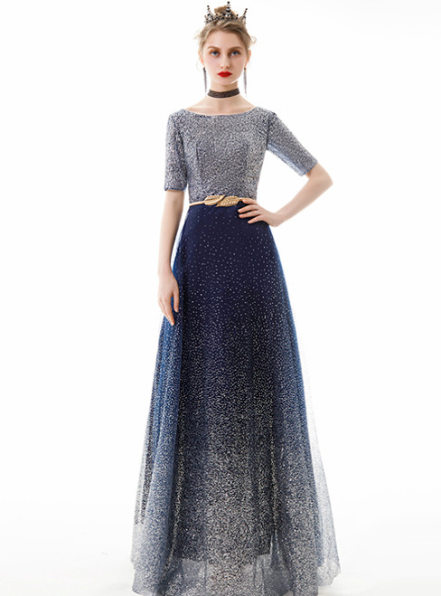 In Stock:Ship in 48 Hours Blue Sequins Tulle Short Sleeve Prom Dress