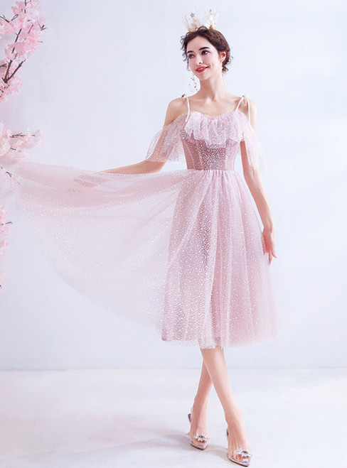 In Stock:Ship in 48 Hours Pink Tulle Spaghetti Straps Homecoming Dress