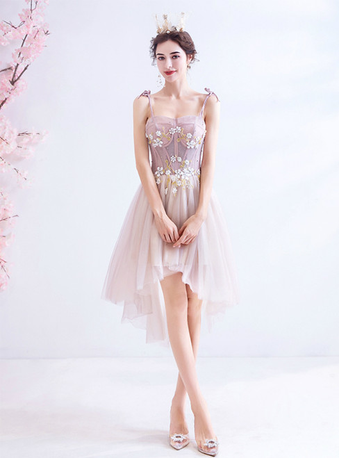 In Stock:Ship in 48 Hours Pink Hi Lo Appliques Homecoming Dress