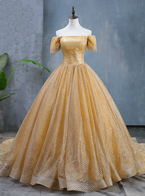 Gold Ball Gown Sequins Short Sleeve Quinceanera Dresses With Train