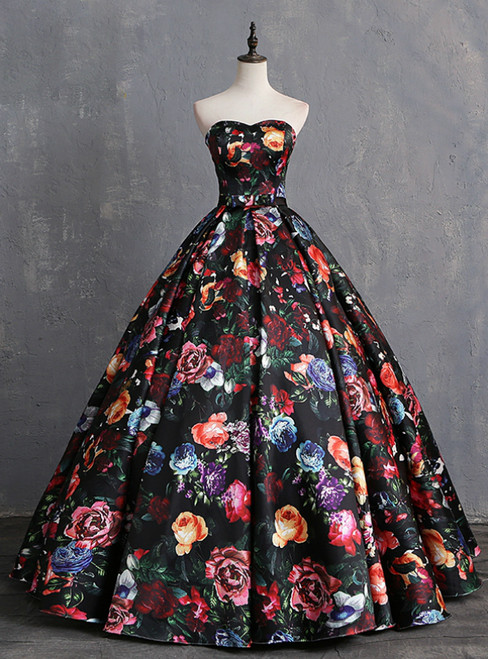Black Satin Print Sweetheart Quinceanera Dresses With Bow