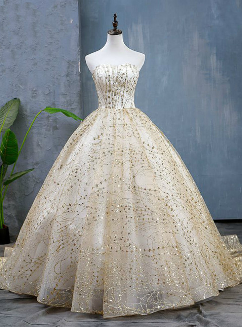 Gold Ball Gown Sequins Tulle Sweetheart Quinceanera Dresses