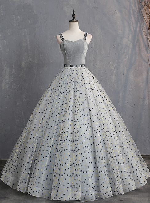 Gray Ball Gown Straps Star Print Long Quinceanera Dresses
