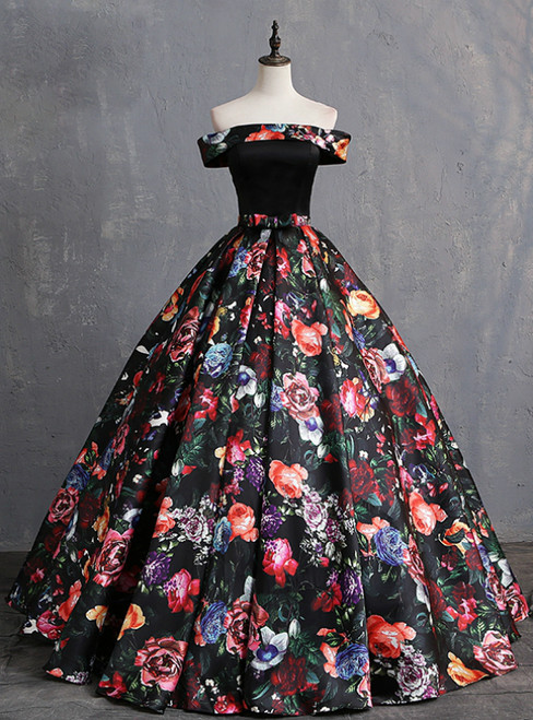 Black Ball Gown Satin Print Off the Shoulder Quinceanera Dresses