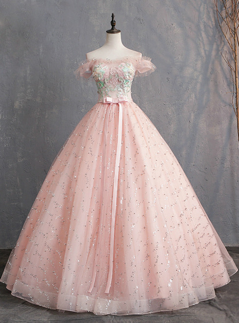 Pink Ball Gown Tulle Off the Shoulder Appliques Quinceanera Dresses