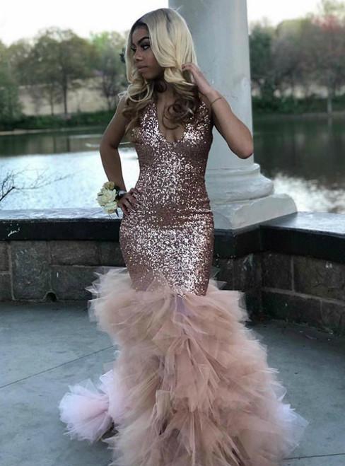 Sexy Memraid Pink Sequins Tulle V-neck Prom Dress