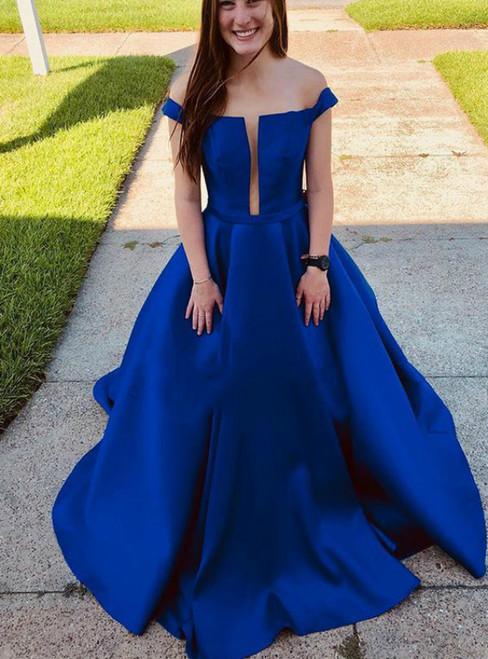 Royal Blue Satin Off the Shoulder Long Prom Dress