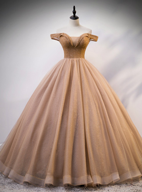 Coffee Color Ball Gown Off the Shoulder Tulle Beading Quinceanera Dress