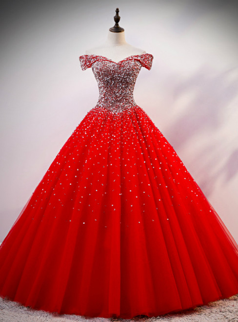 Red Ball Gown Tulle off the Shoulder Beading Sequins Quinceanera Dress