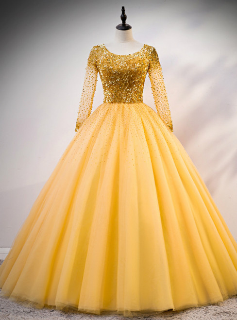 Gold Ball Gown Tulle Sequins Long Sleeve Backless Quinceanera Dress