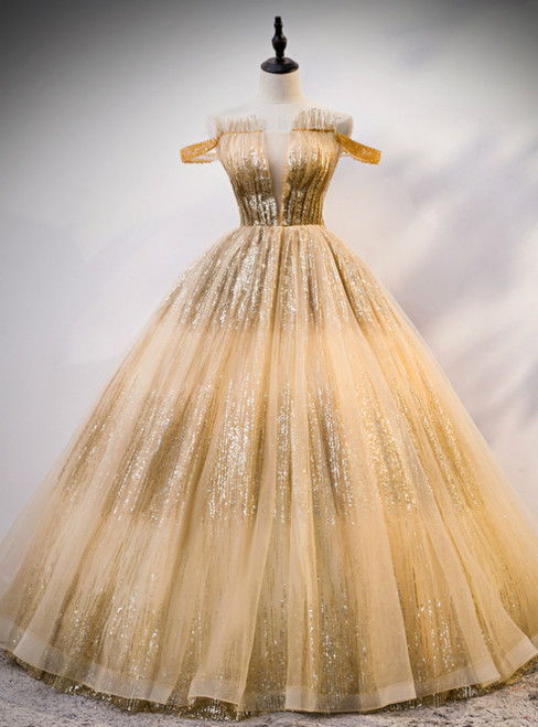 Gold Ball Gown Tulle Sequins Off the Shoulder Pleats Quinceanera Dress