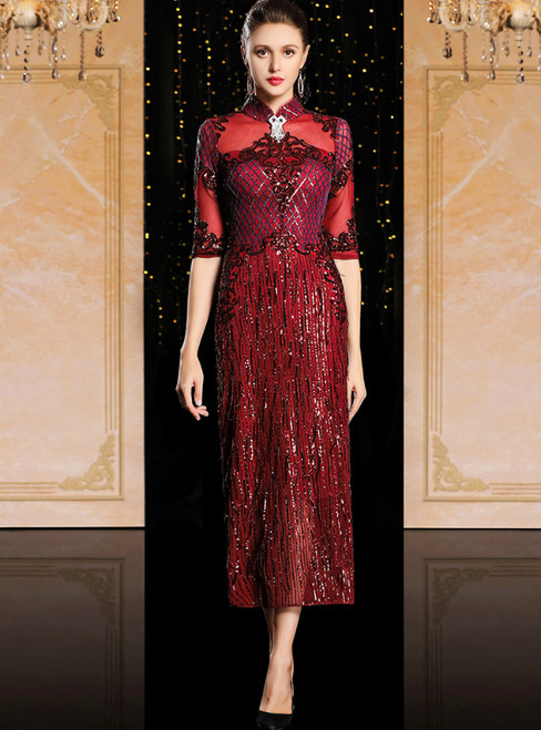 Burgundy Sheath Sequins High Neck Short Sleeve Tea Length Mother Of The Bride Dress