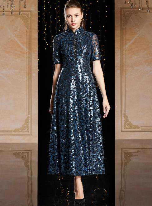 A-Line Blue Sequins Short Sleeve Tea Length Mother Of The Bride Dress