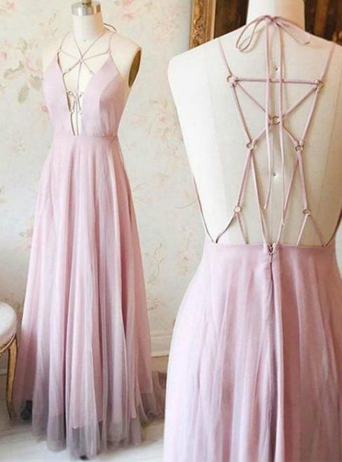 new pink spaghetti strap prom dresses 2017 a-line chiffon prom dresses
