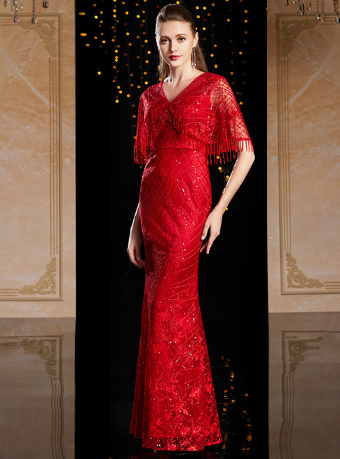 Red V-neck Tulle Embroidery Beading Mother Of The Bride Dress