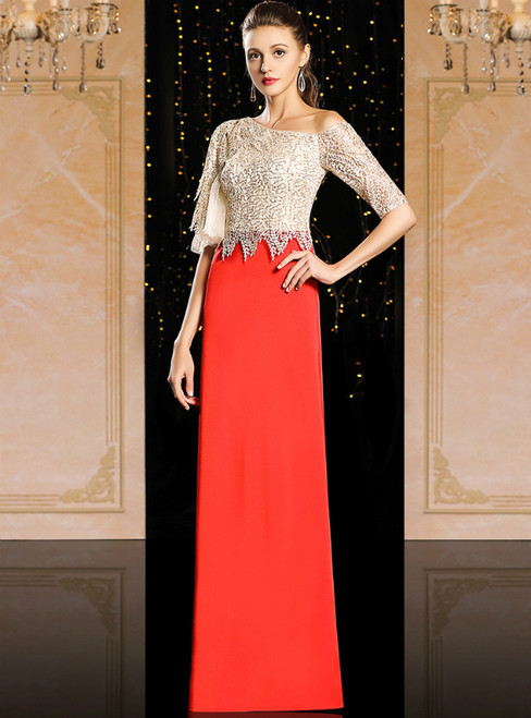 Red Sheath Satin Lace Sequins Short Sleeve Mother Of The Bride Dress