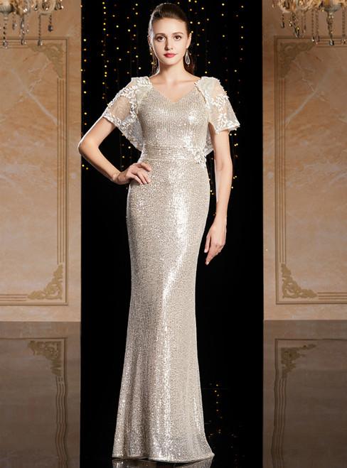 Gold Mermaid Sequins V-neck Raglan Sleeve Mother Of The Bride Dress