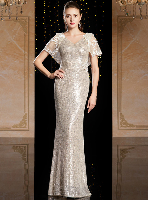 Gold Mermaid Sequins V-neck Raglan Sleeve Mother Of The Bride Dress