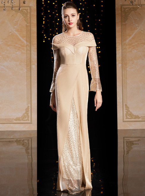 Champagne Sheath Long Sleeve Sequins Mother Of The Bride Dress