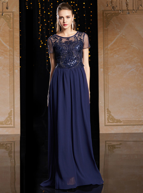 A-Line Navy Blue Chiffon Short Sleeve Sequins Mother Of The Bride Dress