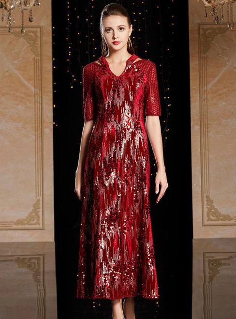 A-Line Burgundy V-neck Short Sleeve Sequins Mother Of The Bride Dress