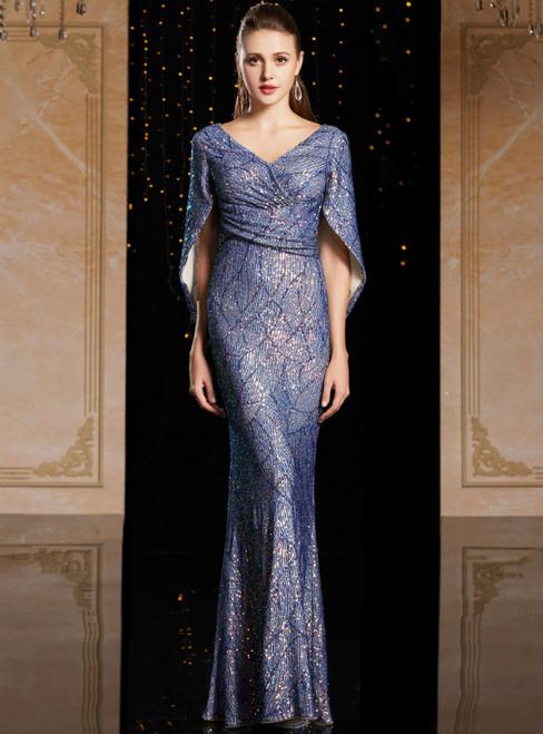 Blue Mermaid Sequins V-neck Bat Sleeve Mother Of The Bride Dress