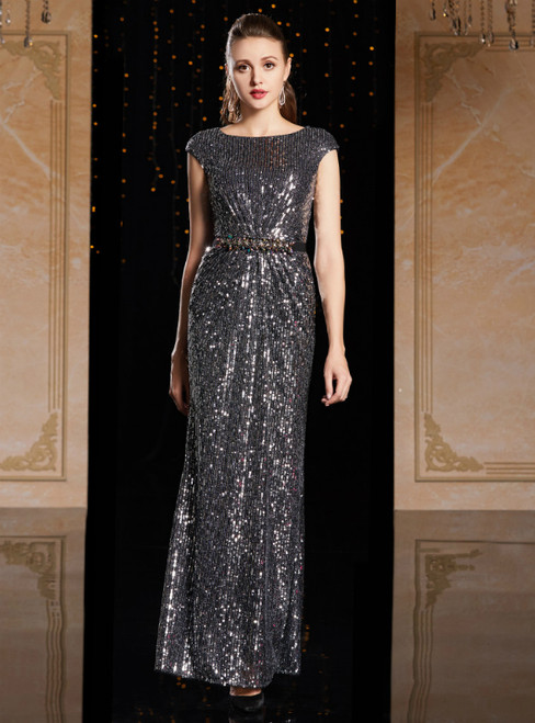 Dark Gray Sequins Cap Sleeve Mother Of The Bride Dress With Sash
