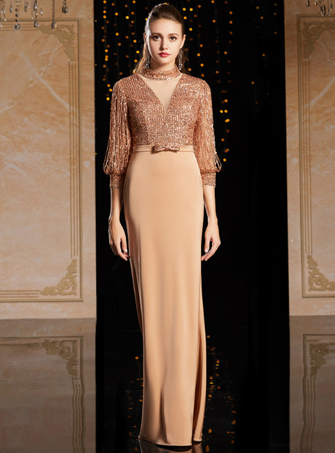 Coffee Sheath 3/4 Sleeve High Neck Mother Of The Bride Dress