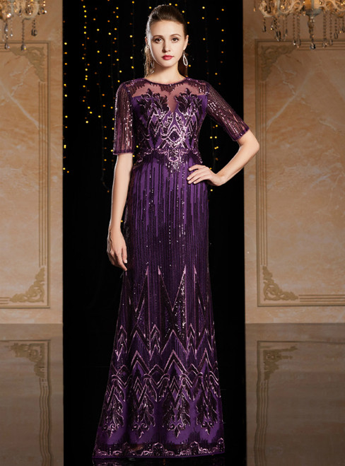 A-Line Purple Sequins Short Sleeve Mother Of The Bride Dress