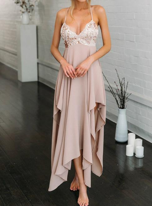 Pink Chiffon Sweetheart Irregular Long Prom Dress