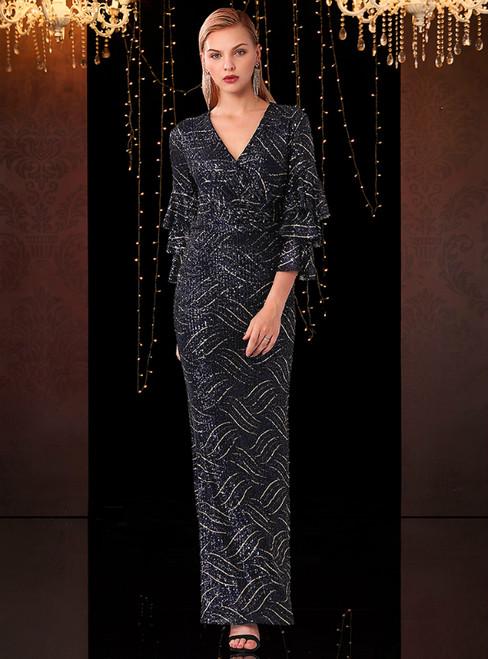 Navy Blue V-neck Stack Sleeves Long Mother Of The Bride Dress